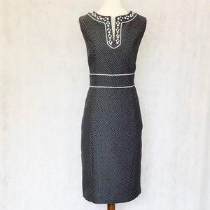 Tahari Black & White Beaded Neckline Dress